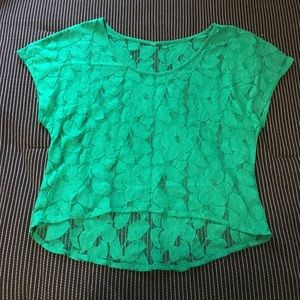 EUC sheer green floral lace top size large